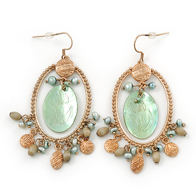 Vintage Inspired Oval Hoop With Freshwater Pearl, Light Green Mother of Pearl Charm Earrings In Gold Tone - 65mm Length