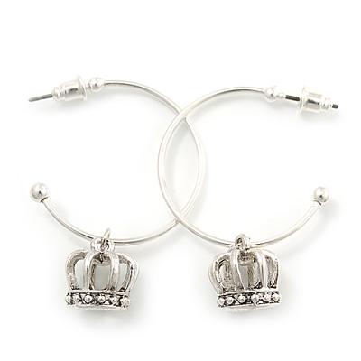 Silver Tone Hoop With Crown Drop Earrings - 30mm Diameter