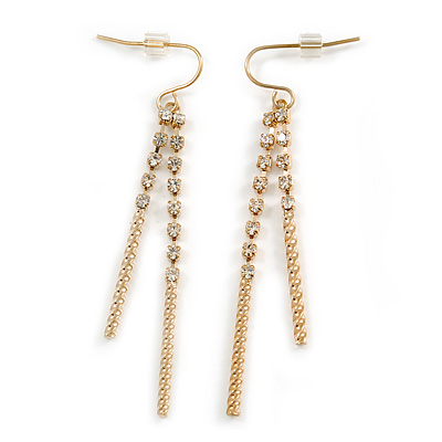 Gold Plated Diamante Linear Drop Earrings - 65mm Length
