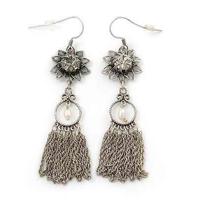 Vintage Inspired Filigree Flower, Freshwater Pearl, Tassel Drop Earrings In Antique Silver Tone - 65mm Length - main view