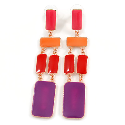 Long Multicoloured Enamel Geometric Drop Earrings In Gold Plating - 90mm Length
