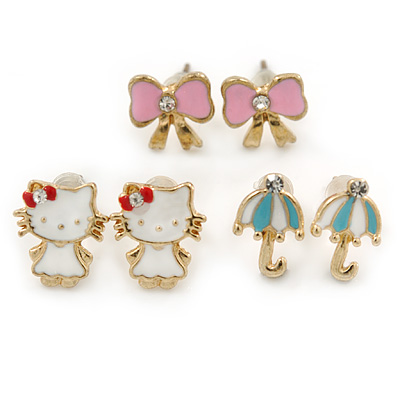 Children's/ Teen's / Kid's Pink Bow, White Kitten, Light Blue Umbrella Stud Earring Set In Gold Tone - 10-12mm
