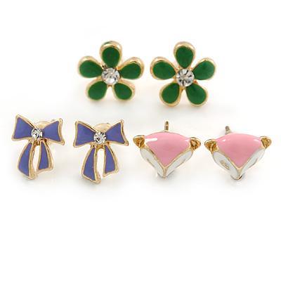 Children's/ Teen's / Kid's Green Daisy, Purple Bow, Pink Fox Stud Earring Set In Gold Tone - 10-12mm