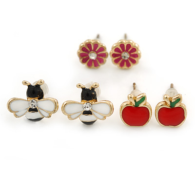 Children's/ Teen's / Kid's Red Apple, Pink Flower, Black/ White Bee Stud Earring Set In Gold Tone - 8-10mm