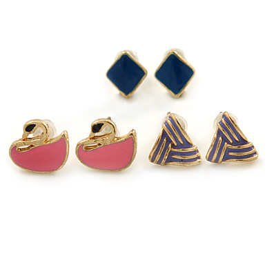 Children's/ Teen's / Kid's Pink Swan, Blue Square, Purple Triangular Stud Earring Set In Gold Tone - 8-10mm (Set of 3 Studs)