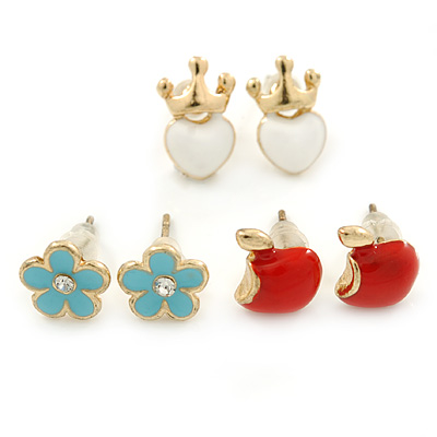 Children's/ Teen's / Kid's Light Blue Flower, Red Apple, White Heart Stud Earring Set In Gold Tone - 8-10mm