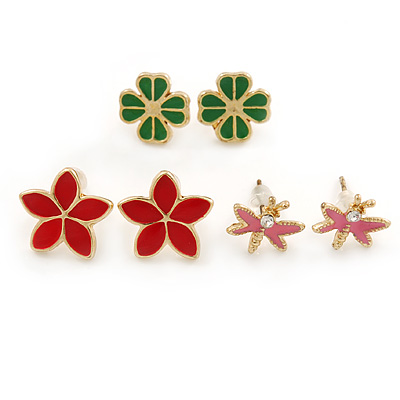 Children's/ Teen's / Kid's Pink Dragonfly, Red Daisy, Green Clover Stud Earring Set In Gold Tone - 10-14mm (Set of 3 Studs)