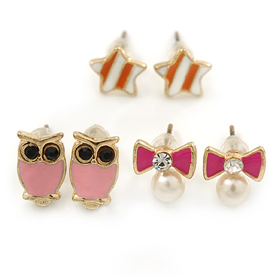 Children's/ Teen's / Kid's Pink Owl, Orange Star, Pink Simulated Pearl Bow Stud Earring Set In Gold Tone - 8-10mm