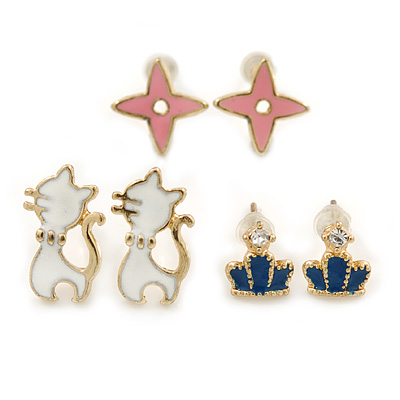Children's/ Teen's / Kid's Blue Crown, White Cat, Pink Star Stud Earring Set In Gold Tone - 10-14mm - main view