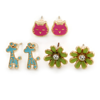 Children's/ Teen's / Kid's Blue Giraffe, Pink Cat, Green Flower Stud Earring Set In Gold Tone - 8-10mm