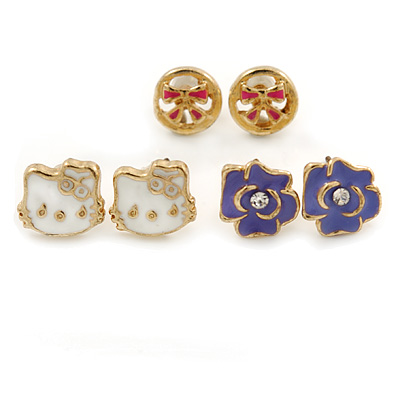 Children's/ Teen's / Kid's White Kitty, Purple Rose, Pink Bow Stud Earring Set In Gold Tone - 10mm