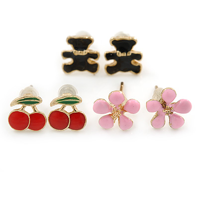 Children's/ Teen's / Kid's Pink Flower, Red Cherry, Black Teddy Bear Stud Earring Set In Gold Tone - 8mm
