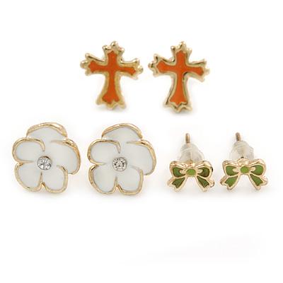 Children's/ Teen's / Kid's Green Bow, White Flower, Orange Cross Stud Earring Set In Gold Tone - 6-12mm