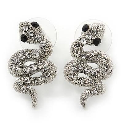 Rhodium Plated Crystal 'Snake' Stud Earrings - 25mm Length