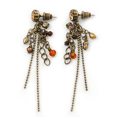 Vintage Inspired Bead And Chain Drop Earrings In Antique Gold Metal - 60mm Length - main view