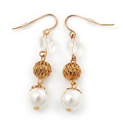 Vintage Inspired Beaded Drop Earrings In Gold Tone - 50mm Length