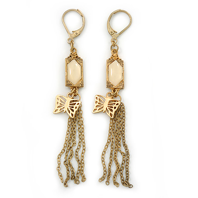 Vintage Inspired Chain Tassel, Butterfly Drop Earrings With Leverback Closure - 80mm Length - main view