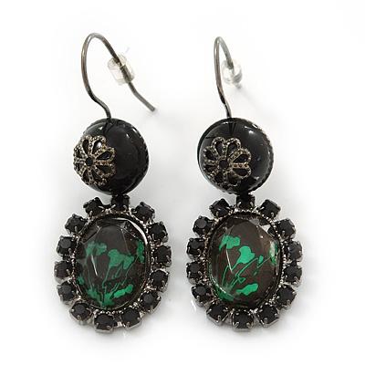 Victorian Style Oval Black, Green Crystal Drop Earrings In Gun Metal - 45mm Length