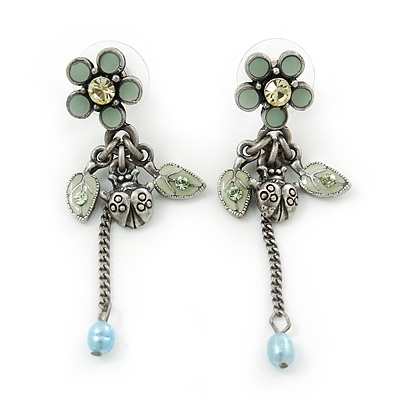Vintage Inspired Pale Blue Enamel Freshwater Pearl 'Flower & Ladybug' Drop Earrings In Antique Silver Tone - 50mm Length