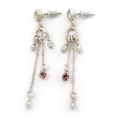 Vintage Inspired Freshwater Pearl, Crystal Chain Tassel Drop Earrings In Light Silver Tone - 55mm Length