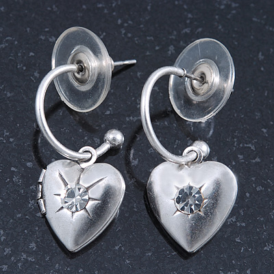 Silver Tone Small Hoop With Heart Locket Charm Drop Earrings - 28mm Length