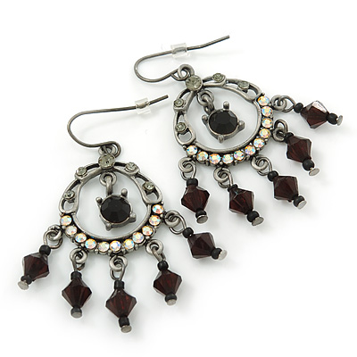 Victorian Style AB Crystal, Black Acrylic Bead Chandelier Earrings In Antique Silver Tone - 50mm Length - main view