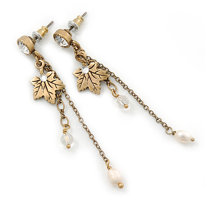 Antique Gold Tone Maple Leaf, Chain Dangle, Freshwater Pearl Drop Earrings - 60mm Length