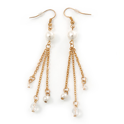 Long Gold Tone White Faux Pearl Chain Dangle Earrings - 8cm Length