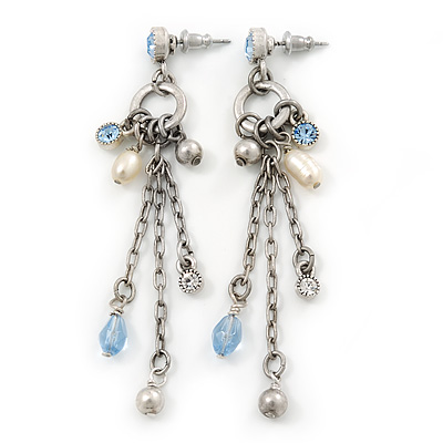 Vintage Inspired Freshwater Pearl, Light Blue Crystal Chain Tassel Drop Earrings In Silver Tone - 75mm L - main view