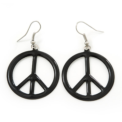 Black Enamel 'Peace' Drop Earrings In Silver Plating - 50mm Length