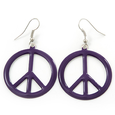 Purple Enamel 'Peace' Drop Earrings In Silver Plating - 50mm Length