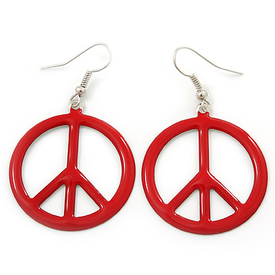Red Enamel 'Peace' Drop Earrings In Silver Plating - 50mm Length