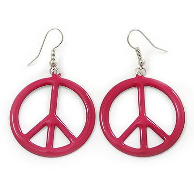 Magenta Enamel 'Peace' Drop Earrings In Silver Plating - 50mm Length