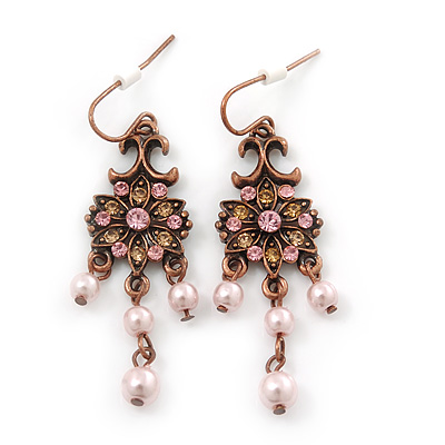 Vintage Inspired Diamante, Pale Pink Simulated Pearl Floral Drop Earrings In Copper Tone - 50mm Length