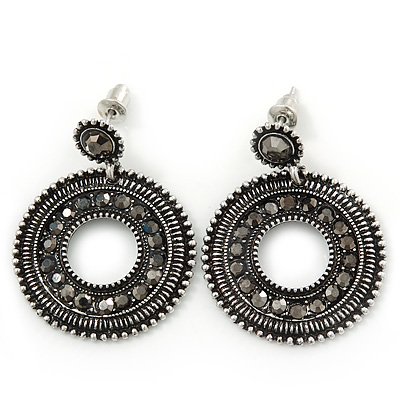 Antique Silver Marcasite Hematite Crystal Hoop Drop Earrings - 35mm Length
