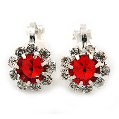 Small Red, Clear Crystal Floral Clip On Earrings In Silver Tone - 15mm L