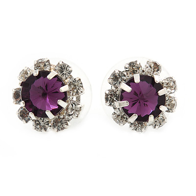 Small Purple/Clear Diamante Stud Earrings In Silver Finish - 10mm Diameter