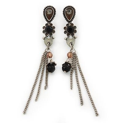 Vintage Inspired Brown, Grey Enamel Floral, Chain Tassel Drop Earrings In Burn Silver Tone - 8cm Length