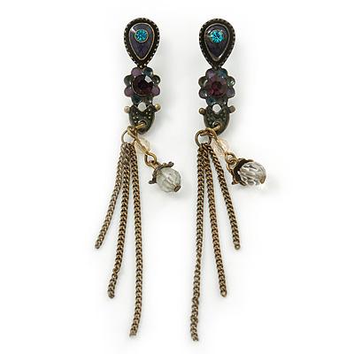 Vintage Inspired Purple, Olive Enamel Floral, Chain Tassel Drop Earrings In Bronze Tone - 8cm Length