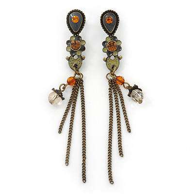 Vintage Inspired Grey, Olive Enamel Floral, Chain Tassel Drop Earrings In Bronze Tone - 8cm Length