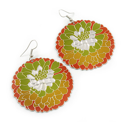 Orange/ Mustard/ Olive Round Enamel Hammered 'Rose' Drop Earrings In Silver Tone - 60mm Length
