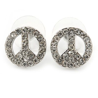 Small Clear Austrian Crystal 'Peace' Stud Earrings In Rhodium Plating - 14mm Diameter