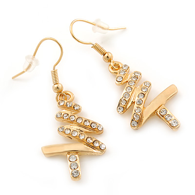 Gold Plated Clear Crystal 'Christmas Tree' Dangle Earrings - 40mm Length