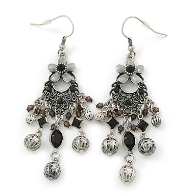 Vintage Inspired Enamel Flower, Filigree Bead Chandelier Earrings In Antique Silver Metal - 8cm Length