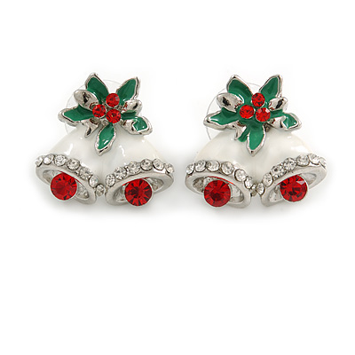 Christmas 'Jingle Bells' Red/ Clear Crystal, White/Green Enamel Stud Earrings In Rhodium Plating - 20mm Width