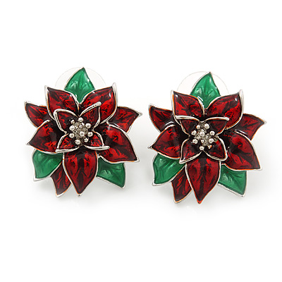 Christmas Dark Red/ Green Enamel Poinsettia Holiday Stud Earrings In Rhodium Plating - 25mm Diameter