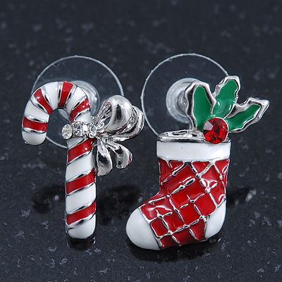 White/ Red/ Green Enamel 'Candy Cane & Christmas Stocking' In Rhodium Plating - 20mm Length - main view