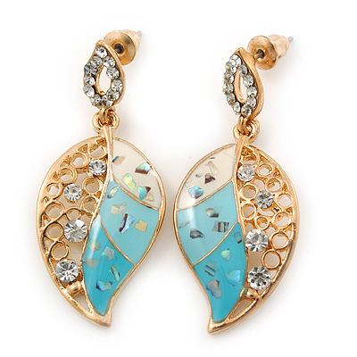 White, Azure, Light Blue Enamel Crystal Leaf Drop Earrings In Gold Plating - 40mm Length