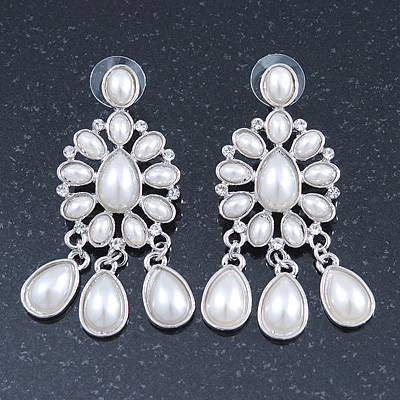 Bridal, Wedding, Prom Glass Pearl Chandelier Earrings In Rhodium Plating - 60mm Length - main view
