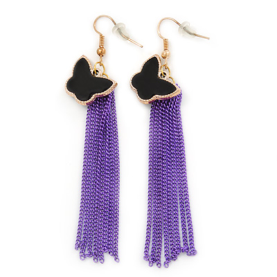 Black Enamel Butterfly & Purple Chain Dangle Earrings In Gold Plating - 85mm Length - main view